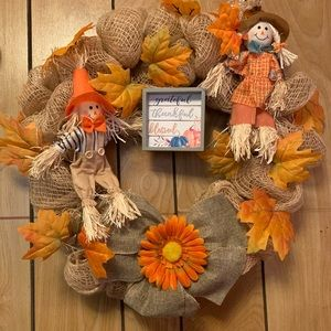 16 inch lighted fall wreath